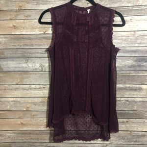 Free People Lace Tunic Top Small Hi-Lo Style